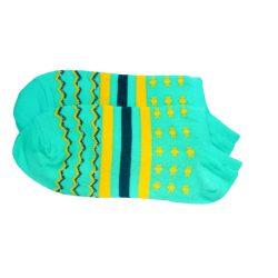 جوراب مچی هانسو طرح حلقهای ستارهدار آبی فیروزهای