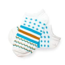 جوراب مچی هانسو طرح حلقهای ستارهدار سفید آبی