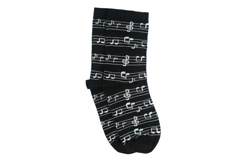 جوراب ساق دار مشکی طرح نت موسیقی مدل HSS101