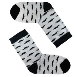 جوراب ساق دار سفید طرح سبیل