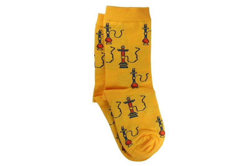 جوراب ساق دار طرح قلیان زرد