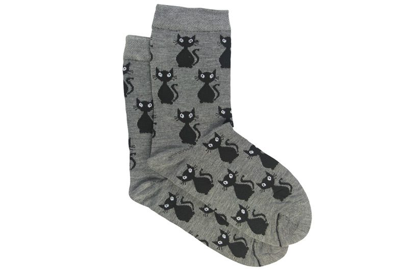 جوراب ساق دار طوسی طرح گربه