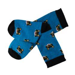 جوراب ساق دار آبی طرح گربه