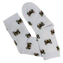 جوراب ساق دار سفید طرح گربه