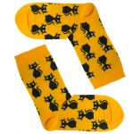 جوراب ساق دار زرد طرح گربه