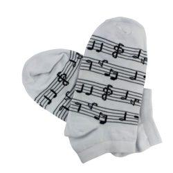 جوراب مچی سفید طرح نت موسیقی مدل HSM204