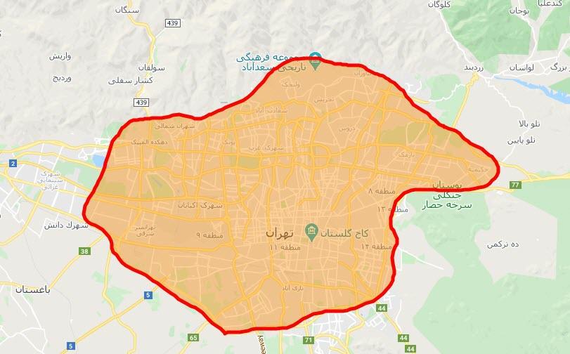 نقشه محدوده ارسال به وسیله پیک در شهر تهران - روش های ارسال