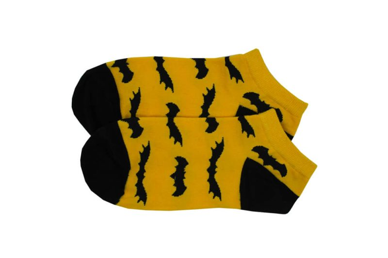 جوراب مچی زرد طرح خفاش مدل HSM243
