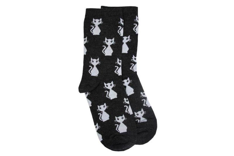 جوراب ساق دار مشکی طرح گربه مدل TSS146