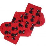 جوراب ساق دار قرمز طرح گربه طرح TSS148
