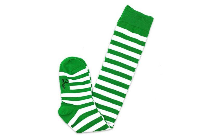 جوراب ساق بلند طرح راه راه سبز و سفید مدل PSB321