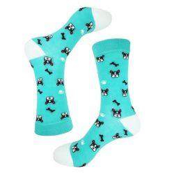 جوراب ساق دار آبی طرح سگ و استخوان مدل PSS307
