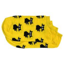 جوراب مچی زرد طرح گربه مدل HSM335