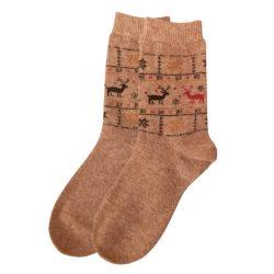 جوراب پشمی ساق دار کرم نخودی مدل HSM103