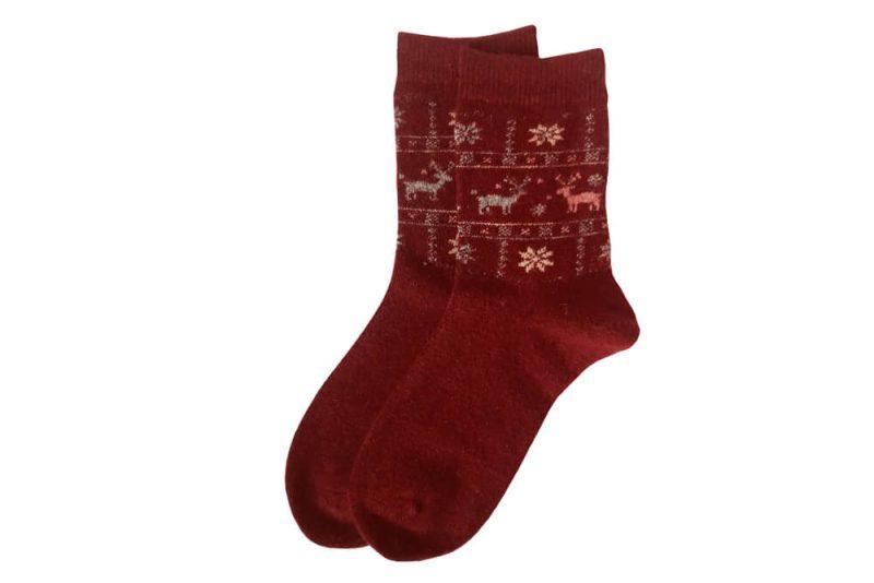 جوراب پشمی ساق دار قرمز مدل HSB108