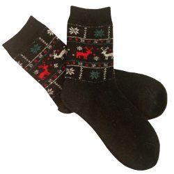 جوراب پشمی ساق دار مشکی مدل HSB112