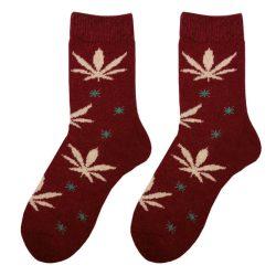 جوراب پشمی ساق دار زرشکی طرح ماریجوانا مدل HSB125
