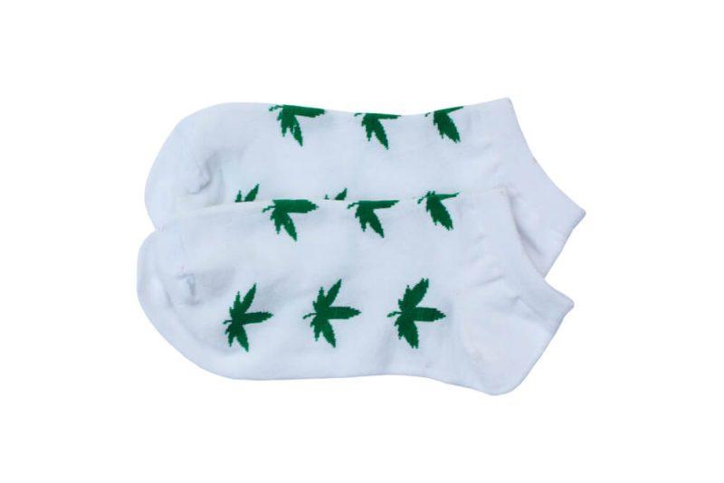 جوراب مچی سفید طرح ماریجوانا مدل HSM364