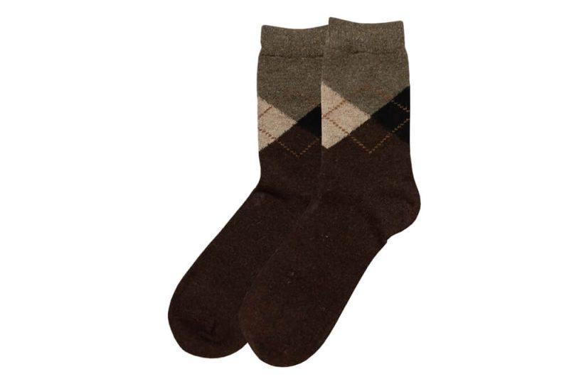 جوراب پشمی مردانه ساق دار قهوهای مدل HSBM102