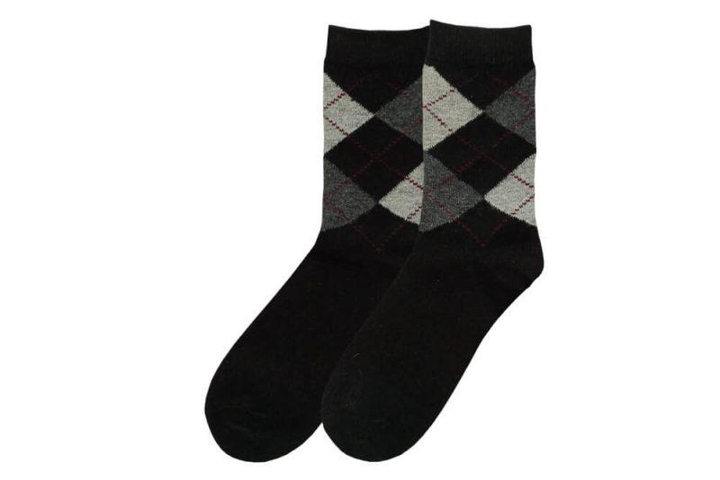 جوراب پشمی مردانه ساق دار مشکی مدل HSBM103