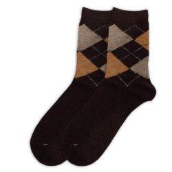 جوراب پشمی مردانه ساق دار قهوهای مدل HSBM108