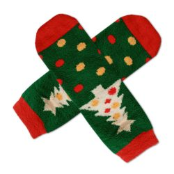 جوراب نیم ساق بوکله طرح کاج کریسمس مدل HSN394