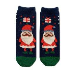 جوراب نیم ساق بوکله سورمهای طرح بابانوئل مدل HSN396