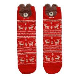 جوراب ساق دار قرمز طرح گوزن و خرس کریسمس مدل HSS405