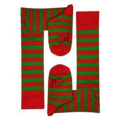 جوراب ساق بلند طرح راه راه قرمز و سبز مدل HSB384