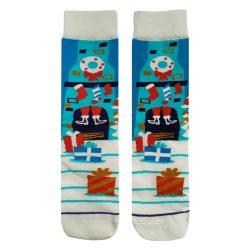 جوراب ساق دار صاف طرح کریسمس مدل HSS452