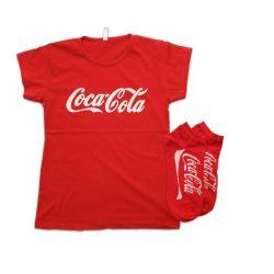 ست تی شرت و جوراب مچی طرح کوکاکولا مدل CocacolaSet101