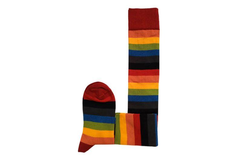 جوراب ساق بلند طرح رنگین کمان مدل HSB500