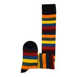 جوراب ساق بلند طرح رنگین کمان مدل HSB501
