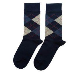 جوراب مردانه ساق دار سورمهای طرح اسکاچ مدل HSSM519