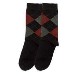 جوراب مردانه ساق دار مشکی طرح اسکاچ مدل HSSM520