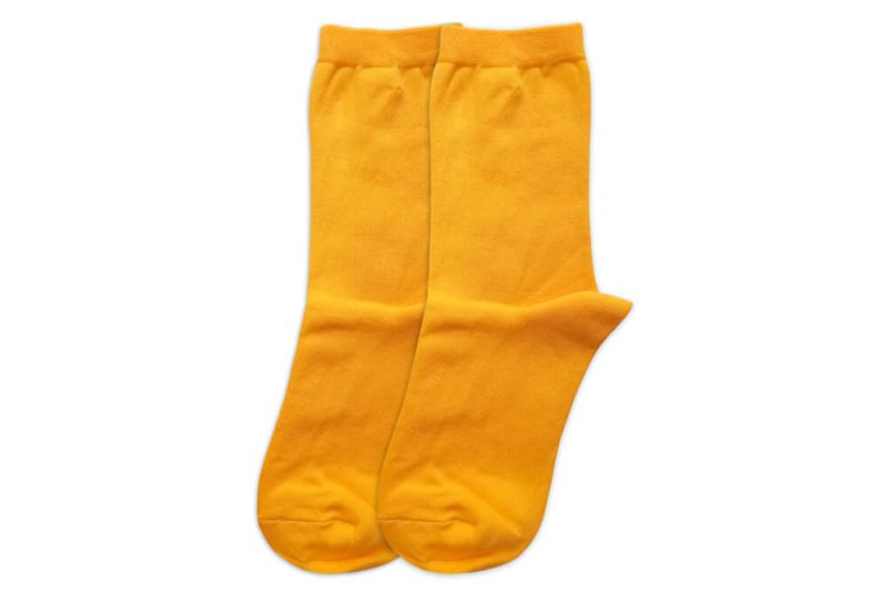 جوراب ساق دار ساده زرد مدل HSS639