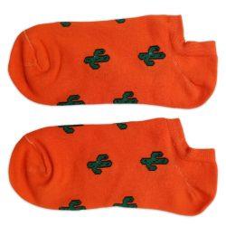 جوراب قوزکی نارنجی طرح کاکتوس مدل HSG645