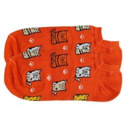جوراب قوزکی نارنجی طرح گربه مدل HSG656