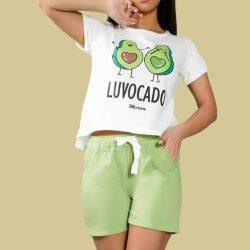ست تی شرت و شورتک طرح آووکادو مدل AvocadoSet