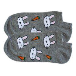 جوراب قوزکی طوسی طرح خرگوش و هویج