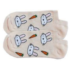 جوراب قوزکی کرمی طرح خرگوش و هویج